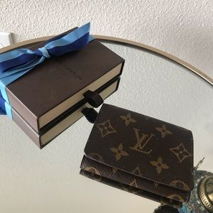 authentic louis vuitton porte card case  wallet